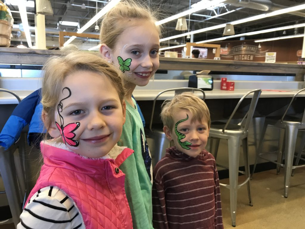Butterfly, 4 leaf clover and snake Face Painting Fresh Thymes