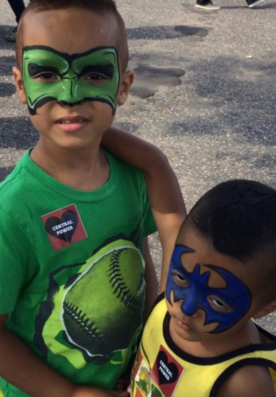 Green Lantern and Batman Face Painting at Philando Castile Fundraiser