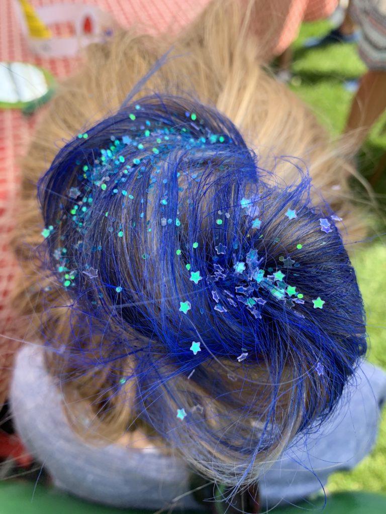 Blue Sprayed Hair with Sprinkles