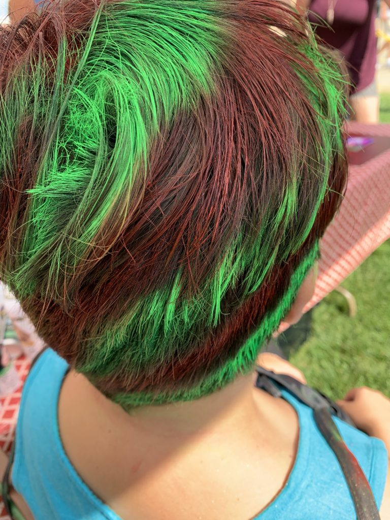 Green and Red Wacky Silly Colorful Hair