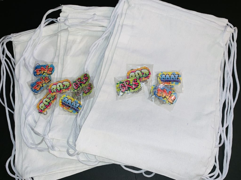 Novelty Customizable Airbrushed Drawstring bags
