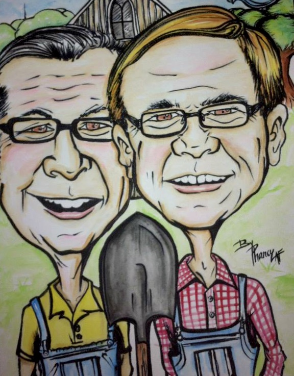 2 Guys Harvesting Caricature with shovel