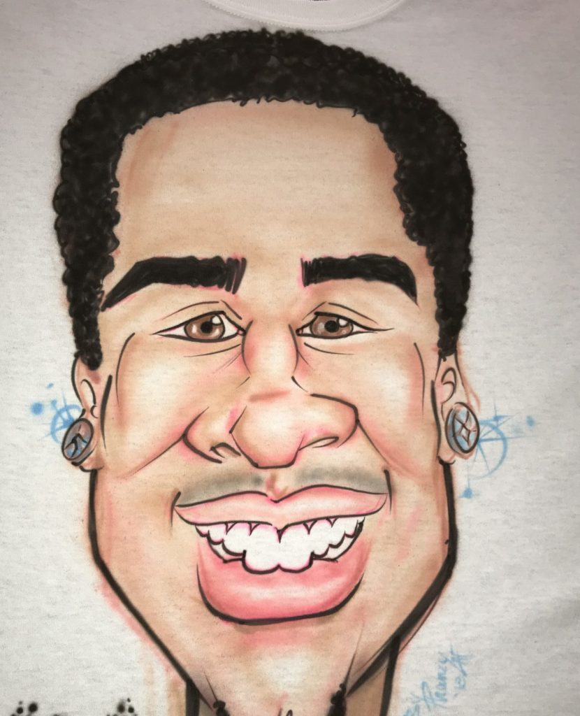 Airbrushed Caricature on a T-Shirt